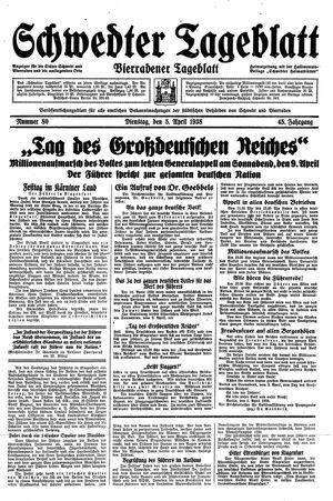 Schwedter Tageblatt vom 05.04.1938