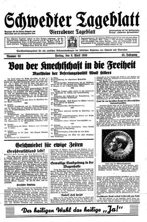 Schwedter Tageblatt vom 08.04.1938