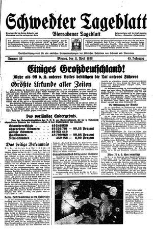 Schwedter Tageblatt vom 11.04.1938