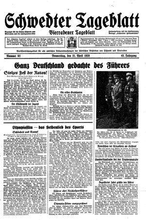 Schwedter Tageblatt vom 21.04.1938