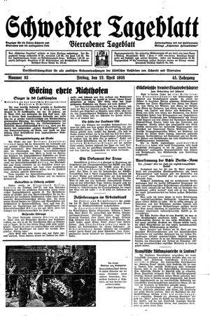 Schwedter Tageblatt vom 22.04.1938