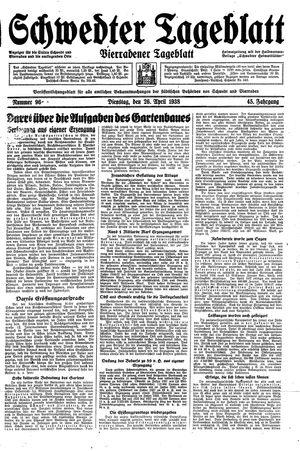 Schwedter Tageblatt vom 26.04.1938