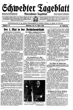 Schwedter Tageblatt vom 27.04.1938