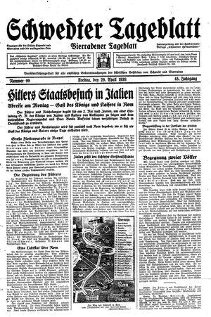 Schwedter Tageblatt vom 29.04.1938
