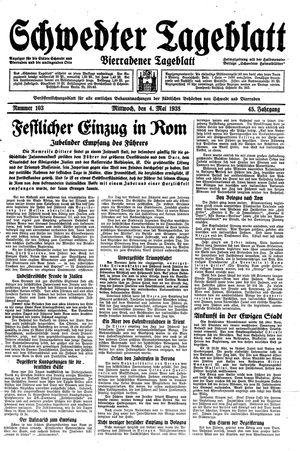 Schwedter Tageblatt vom 04.05.1938