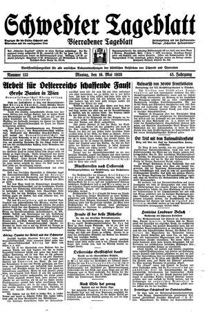 Schwedter Tageblatt vom 16.05.1938