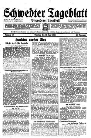 Schwedter Tageblatt vom 14.06.1938