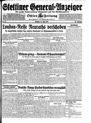 Stettiner General-Anzeiger vom 22.06.1937
