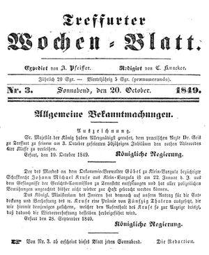 Treffurter Wochen-Blatt on Oct 20, 1849