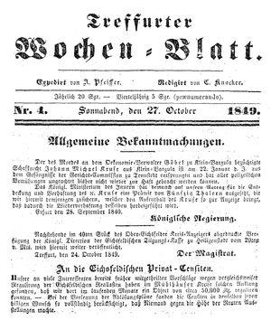 Treffurter Wochen-Blatt on Oct 27, 1849