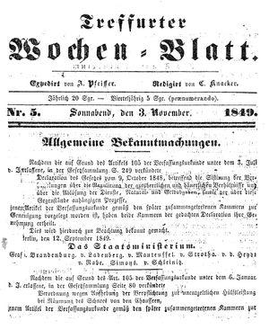 Treffurter Wochen-Blatt vom 03.11.1849
