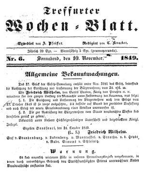 Treffurter Wochen-Blatt vom 10.11.1849