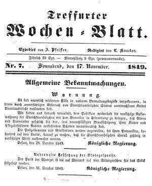 Treffurter Wochen-Blatt vom 17.11.1849