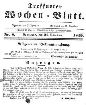 Treffurter Wochen-Blatt vom 24.11.1849