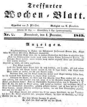 Treffurter Wochen-Blatt vom 01.12.1849