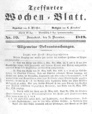Treffurter Wochen-Blatt vom 08.12.1849