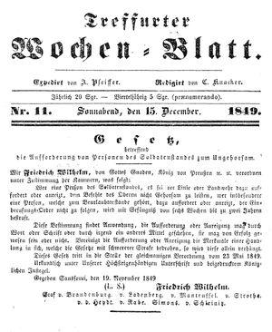 Treffurter Wochen-Blatt vom 15.12.1849