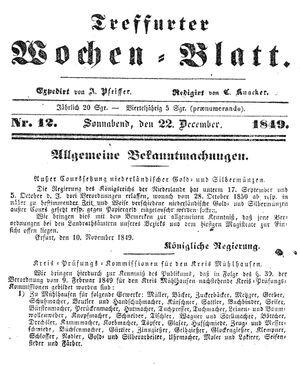 Treffurter Wochen-Blatt vom 22.12.1849