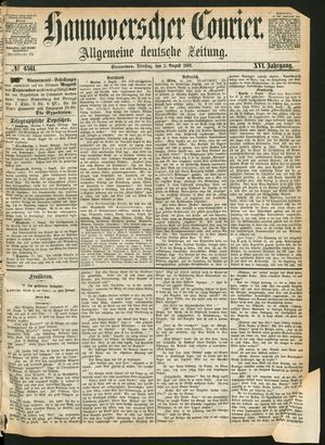 Hannoverscher Kurier on Aug 3, 1869
