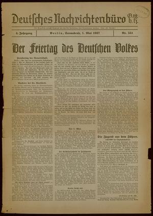 Deutsches Nachrichtenbüro vom 01.05.1937