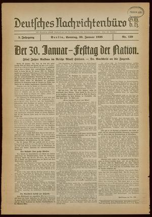 Deutsches Nachrichtenbüro vom 30.01.1938