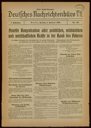 Deutsches Nachrichtenbüro vom 05.02.1938