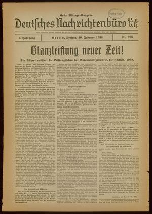 Deutsches Nachrichtenbüro vom 18.02.1938