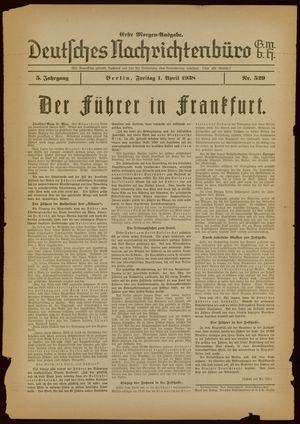 Deutsches Nachrichtenbüro vom 01.04.1938