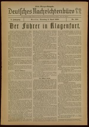 Deutsches Nachrichtenbüro vom 05.04.1938