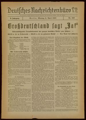 Deutsches Nachrichtenbüro vom 11.04.1938