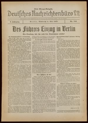Deutsches Nachrichtenbüro vom 11.05.1938