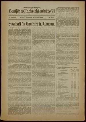 Deutsches Nachrichtenbüro vom 18.02.1939
