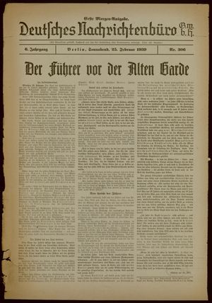 Deutsches Nachrichtenbüro vom 25.02.1939