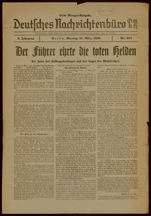 Deutsches Nachrichtenbüro on Mar 13, 1939