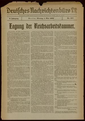 Deutsches Nachrichtenbüro vom 01.05.1939