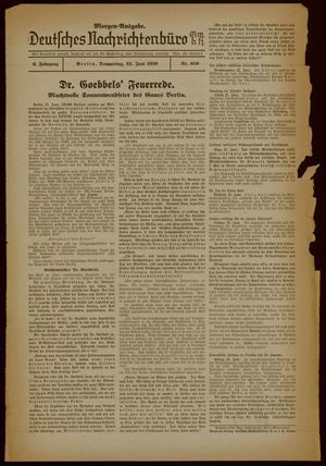Deutsches Nachrichtenbüro vom 22.06.1939