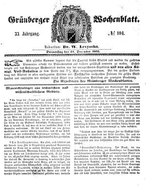 Grünberger Wochenblatt vom 31.12.1857