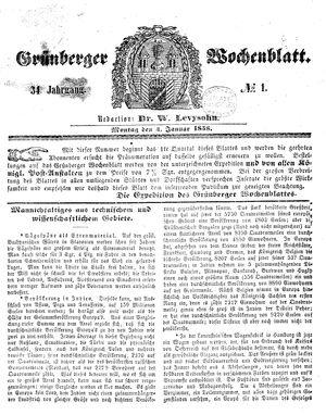 Grünberger Wochenblatt vom 04.01.1858