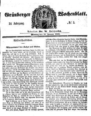 Grünberger Wochenblatt vom 11.01.1858