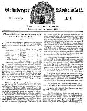 Grünberger Wochenblatt vom 14.01.1858