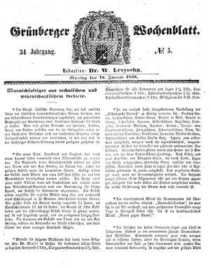 Grünberger Wochenblatt vom 18.01.1858