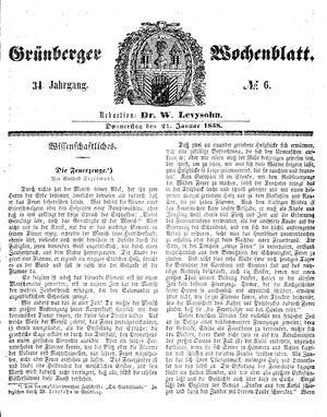 Grünberger Wochenblatt vom 21.01.1858