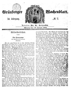 Grünberger Wochenblatt vom 25.01.1858