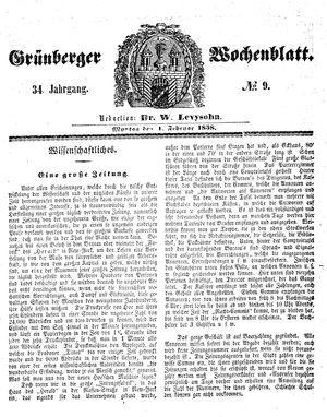 Grünberger Wochenblatt vom 01.02.1858