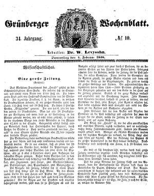 Grünberger Wochenblatt vom 04.02.1858