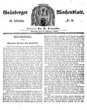 Grünberger Wochenblatt vom 08.02.1858