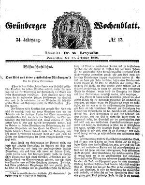 Grünberger Wochenblatt vom 11.02.1858