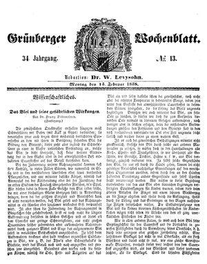 Grünberger Wochenblatt vom 15.02.1858