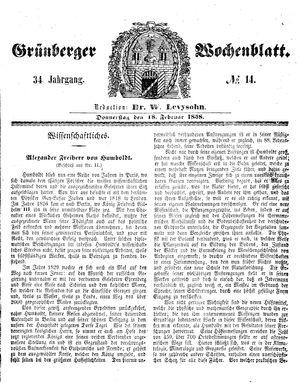 Grünberger Wochenblatt vom 18.02.1858