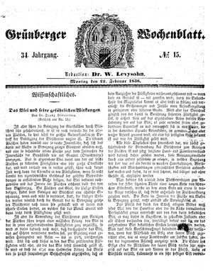 Grünberger Wochenblatt vom 22.02.1858